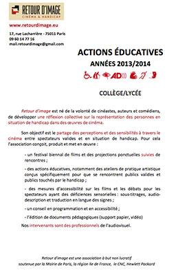 lien vers la fiche d'actions éducatives collège et lycée 2014 en pdf