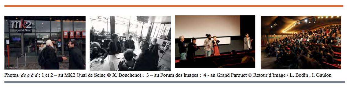 Photos des séances au MK2 Quai de Scène, Forum des images.