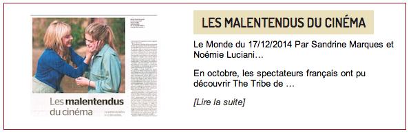 Les Malentendus du Cinema Le Monde 2014