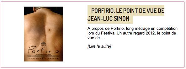 Porfirio, lire l'article de Jean-Luc Simon