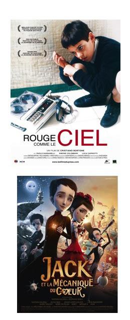 """Affiche des films """"Rouge comme le ciel"""" et en dessous """" Jacck et la mécanique du coeur"""""""