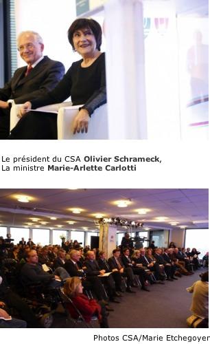 photo Le président du CSA et madame La ministre Marie Arlette Carlotti