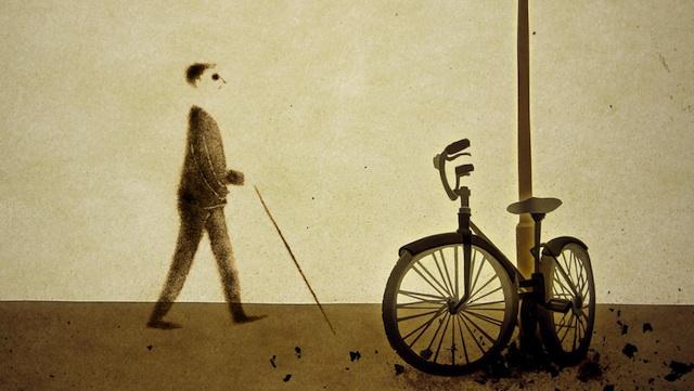 Dessin à l'encre d'un non-voyant, passant à côté d'un vélo attaché à un lampadaire