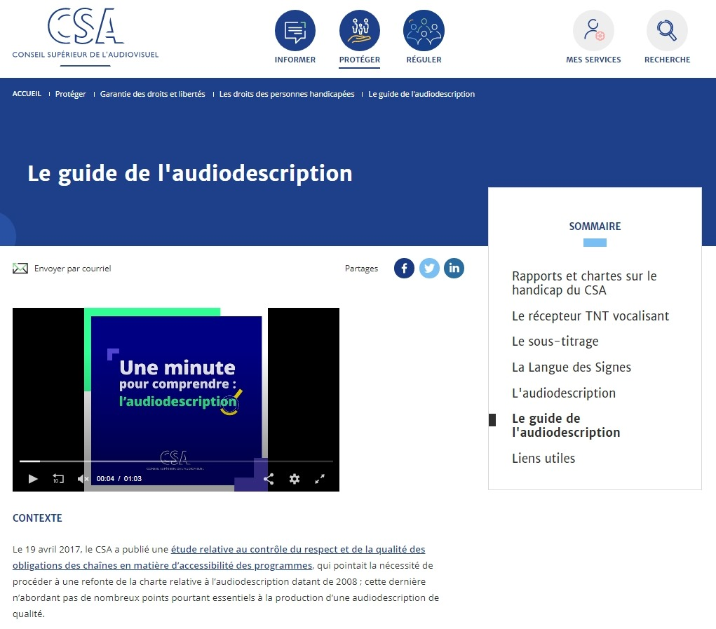 Publication du Guide de l'audiodescription